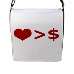 Love Is More Than Money Flap Closure Messenger Bag (Large)