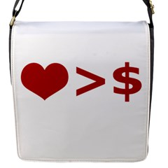 Love Is More Than Money Flap Closure Messenger Bag (small)