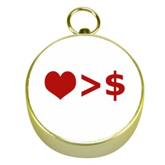 Love Is More Than Money Gold Compass