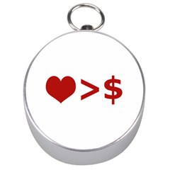 Love Is More Than Money Silver Compass