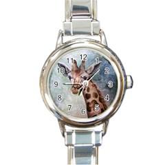 Giraffe Round Italian Charm Watch