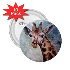 Giraffe 2 25  Button (10 Pack)