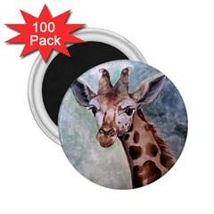 Giraffe 2 25  Button Magnet (100 Pack)