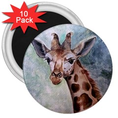 Giraffe 3  Button Magnet (10 pack)