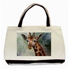 Giraffe Twin-sided Black Tote Bag