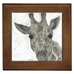 Giraffe Framed Ceramic Tile