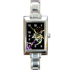 Futuristic Abstract Dance Shapes Artwork Rectangular Italian Charm Watch
