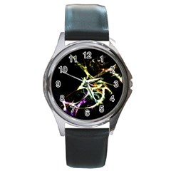 Futuristic Abstract Dance Shapes Artwork Round Leather Watch (Silver Rim)