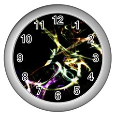 Futuristic Abstract Dance Shapes Artwork Wall Clock (silver)