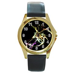 Futuristic Abstract Dance Shapes Artwork Round Leather Watch (Gold Rim)