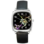Futuristic Abstract Dance Shapes Artwork Square Leather Watch Front