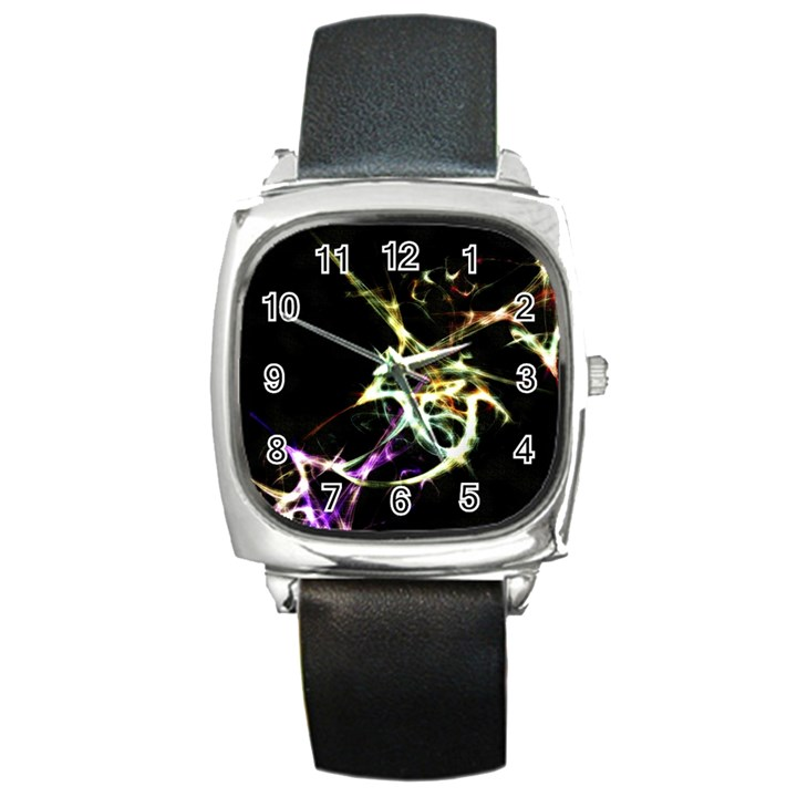 Futuristic Abstract Dance Shapes Artwork Square Leather Watch