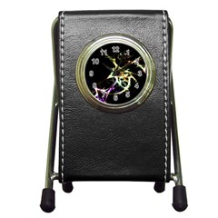 Futuristic Abstract Dance Shapes Artwork Stationery Holder Clock