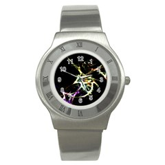 Futuristic Abstract Dance Shapes Artwork Stainless Steel Watch (slim)