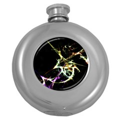 Futuristic Abstract Dance Shapes Artwork Hip Flask (Round)