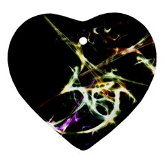 Futuristic Abstract Dance Shapes Artwork Heart Ornament (Two Sides)