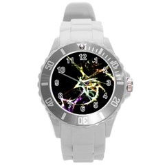 Futuristic Abstract Dance Shapes Artwork Plastic Sport Watch (Large)