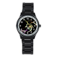 Futuristic Abstract Dance Shapes Artwork Sport Metal Watch (Black)