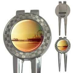 Santa Monica Pier Orange Sunrise Golf Pitchfork & Ball Marker