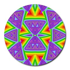 Trippy Rainbow Triangles 8  Mouse Pad (round)