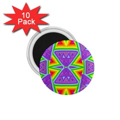 Trippy Rainbow Triangles 1 75  Button Magnet (10 Pack)