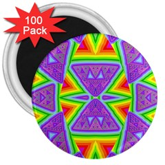 Trippy Rainbow Triangles 3  Button Magnet (100 pack)
