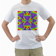 Trippy Rainbow Triangles Men s Two-sided T-shirt (White)