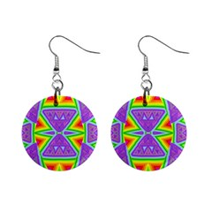 Trippy Rainbow Triangles Mini Button Earrings