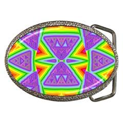 Trippy Rainbow Triangles Belt Buckle (Oval)