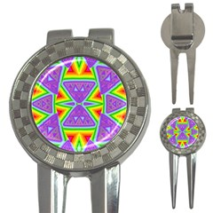 Trippy Rainbow Triangles Golf Pitchfork & Ball Marker