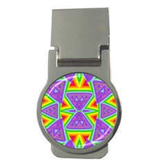 Trippy Rainbow Triangles Money Clip (round)