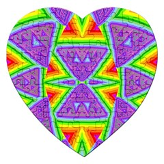 Trippy Rainbow Triangles Jigsaw Puzzle (Heart)