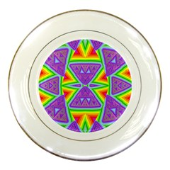 Trippy Rainbow Triangles Porcelain Display Plate