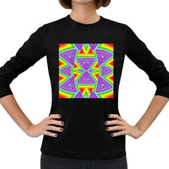 Trippy Rainbow Triangles Women s Long Sleeve T Shirt (dark Colored)