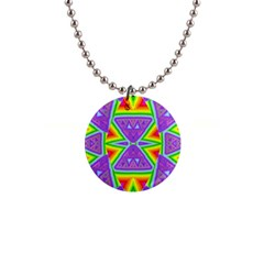 Trippy Rainbow Triangles Button Necklace