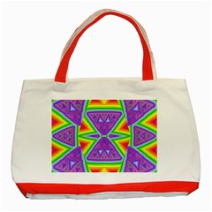 Trippy Rainbow Triangles Classic Tote Bag (Red)