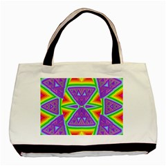 Trippy Rainbow Triangles Twin-sided Black Tote Bag