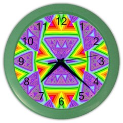 Trippy Rainbow Triangles Wall Clock (Color)