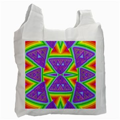 Trippy Rainbow Triangles White Reusable Bag (one Side)
