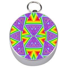 Trippy Rainbow Triangles Silver Compass