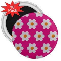 Daisies 3  Button Magnet (10 Pack)