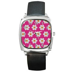 Daisies Square Leather Watch