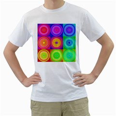 Retro Circles Men s Two Sided T Shirt (white)