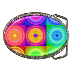 Retro Circles Belt Buckle (oval)