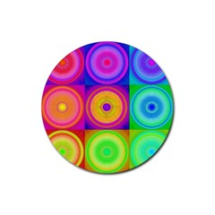 Retro Circles Drink Coaster (round)