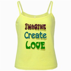 Imagine Create Love Yellow Spaghetti Tank