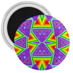 Trippy Rainbow Triangles 3  Button Magnet