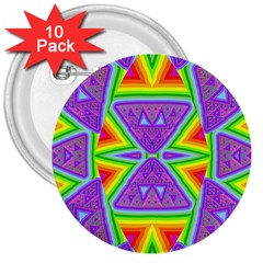 Trippy Rainbow Triangles 3  Button (10 Pack)