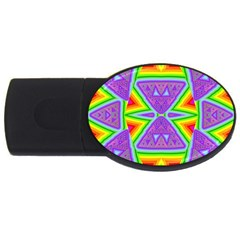 Trippy Rainbow Triangles 2gb Usb Flash Drive (oval)