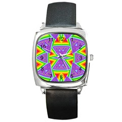 Trippy Rainbow Triangles Square Leather Watch